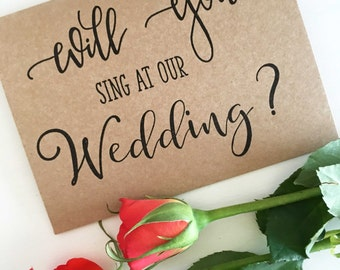 Wedding Singer - Will You Sing at our Wedding Card  - Wedding Proposal Cards - Bridal Party Proposal Cards - Rustic Wedding - Wedding Cards