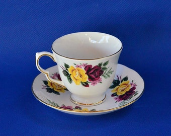 Vintage Queen Anne Footed Tea Cup and Saucer - Yellow and Red Roses with Pink Forget-Me-Nots - Made in England - Pattern 8630 - Bone China