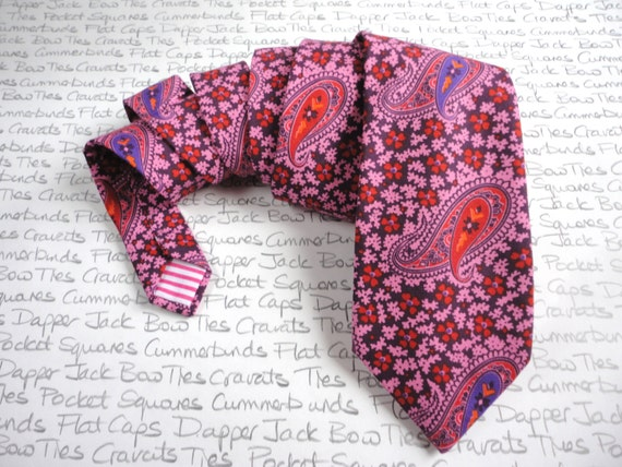 Paisley print neck tie in a liberty art print cotton fabric, neckties for men, standard width neck tie,
