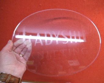 Vintage Ladyship Wools Advertiseing Plaque - Etched Glass With Bevelled Edge