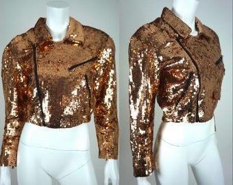 Vintage Sequin Jacket Crop Bolero Bronze Gold Modi Petite Size 2 4 Small Fitted Blazer