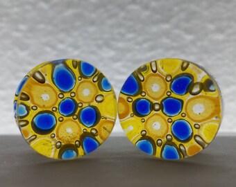 Amber/Caribbean Blue Glass Plugs