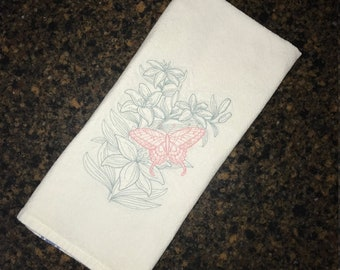 Embroidered Butterfly and Flower Tea Towel Kitchen, Machine Embroidered