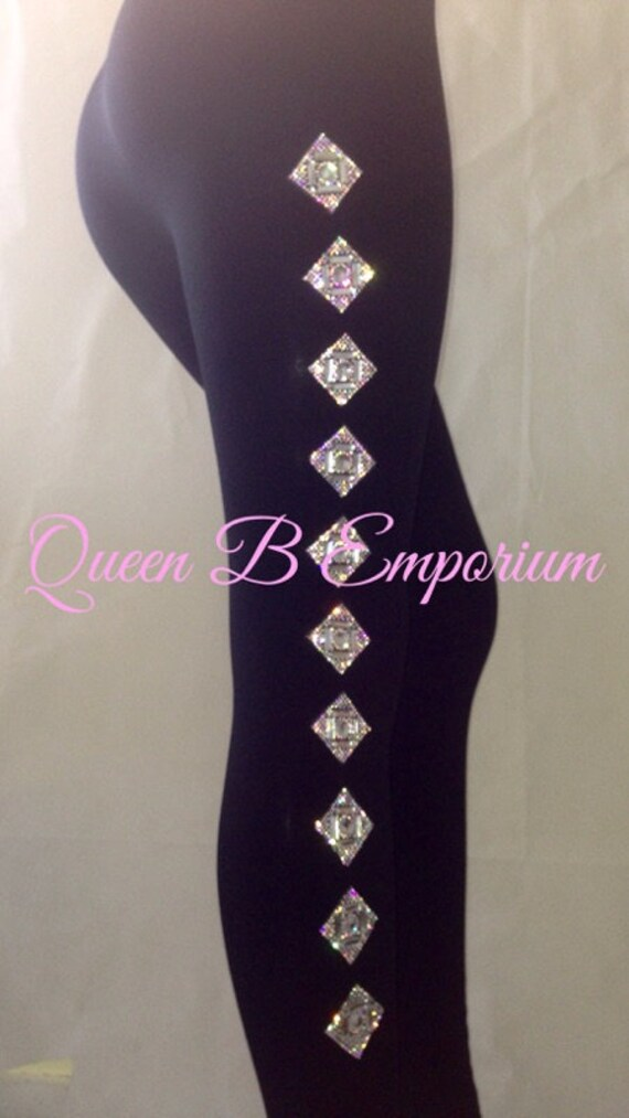 Black Luxury Crystal Rhinestone Diamond Compression iced Out Clubwear Party Leggings Queen B Emporium Shapewear pants Sizes S-L