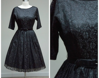 Vintage 1950s Dress • Twilight Memories • Black Lace 50s Party Dress with Full Skirt Size Small