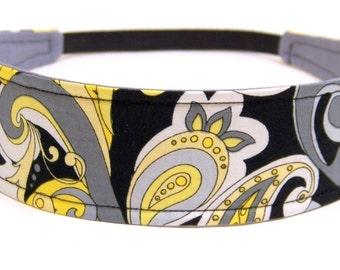 Headband Reversible Fabric - Black, Grey, Yellow & White Mod Floral Print -  Headbands for Women  -  STELLA