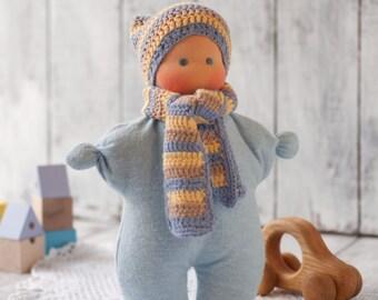 Waldorf boy doll, baby's first doll, soft baby doll, organic baby dolls, best baby doll, teething doll, newborn baby dolls, yellow sky beige