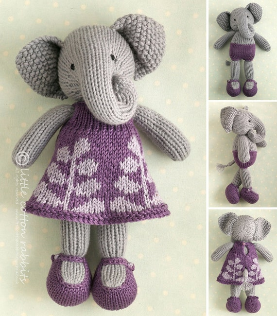 Toy Knitting Pattern For A Girl Elephant In A Frondy Frock From