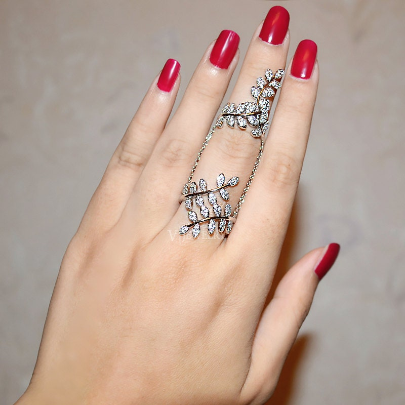 Full Finger Ring Cubic Zirconia Leaf Branch Ring Chain Ring