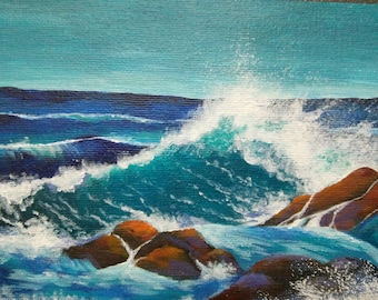 Stormy waves - Acrylic Original Painting