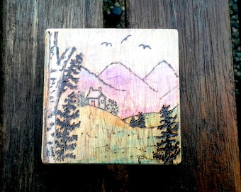 Tiny cottage landscape Mini  Pyrography Art Piece, choose hanger or magnet, Mountains, Pine trees, Welsh cottage, chalk pencil art