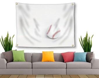 Baseball Tapestry-Baseball Wall Decor-Canvas Tapestry-Sports Wall Decor-Wall Hanging-Red & White Wall Decor-Sports Tapestry-Outdoor Tapestry