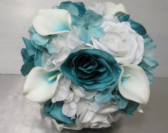 Turquoise White Rose Calla Lily Bridal Wedding Bouquet & Boutonniere