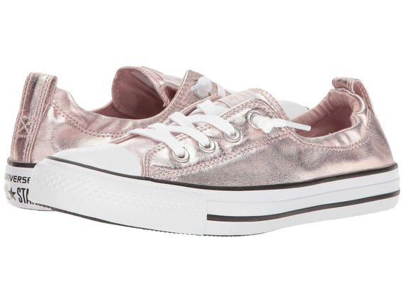 Pink Converse Shoreline Blush Metallic Rose Quartz Custom Bridal Wedding Slip On w/ Swarovski Crystal Chuck Taylor All Star Sneakers Shoes