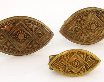 Textured Bronze Tone Vintage Cufflinks Set with Small Tie Clip Oval 1960s