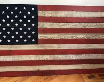 """Reclaimed pallet American flag hanging wall art distressed with old glory paint 47"""" wide x 25"""" tall"""