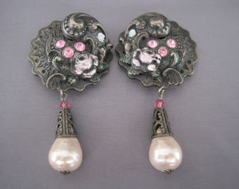 Vintage Antique Brass Rhinestone Pearl Dangling Earrings