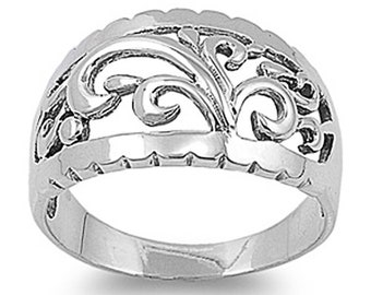 Women Sterling Silver Filigree Band Ring 13mm / Free Gift Box(SNRP141120)