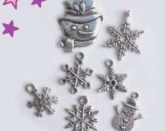 7 charms from 30 to 18 mm mixed winter / snowman snowflake sizes weather silver-plated