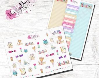 Kawaii Book Lovers Monthly Reading Challenge Planner Stickers- ECLP, Kikki.K, Filofax, Happy Planner, MAMBI