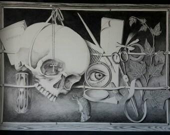 drawing - tromp-l'oeil stilllife  - pencil, graphite, skull, black and white, nocturnal, dark, gothic, vanitas, memento mori, stilllife