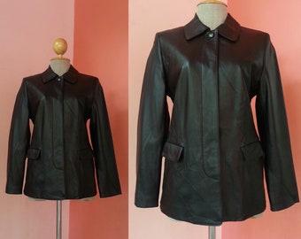 BALMAIN Black Leather Jacket Women Vintage Black Jacket Womens Jackets Retro Jacket Hipster Jacket Designer Jacket Long Sleeve Medium
