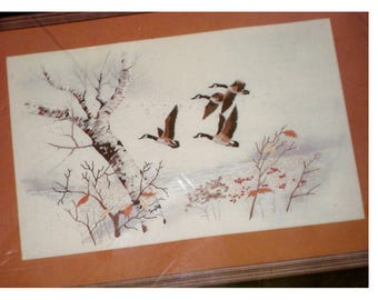 Geese in Flight JanLynn Embroidery Cotton Floss Stitchery Kit Vintage New