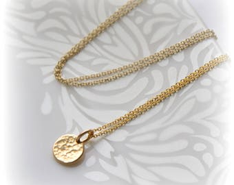 Hammered Gold Disc Necklace, Gold Disc Gift for Women, Bridesmaid Gift, Tiny Gold Disc Necklace,  Minimalist Necklace Blissaria