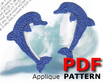 Crochet pattern | Crochet Two DOLPHINS | Applique Pattern | PDF Instant Download | 2 in 1- Looking to the left and looking to the right