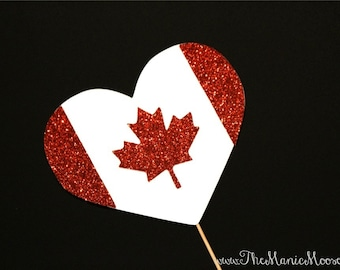 Photo Booth Props ~ GLITTERY Canadian Flag Heart  - Canada Flag - GLITTER Photobooth Prop