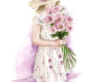 Flower Girl, Watercolor Print, Nursery Art, Grandma Gift, Girls with Daisies, Sunhat Painting, Girls Room Art, Flower Girl Gift