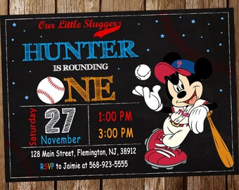 Mickey Mouse Baseball Invitation Birthday Party