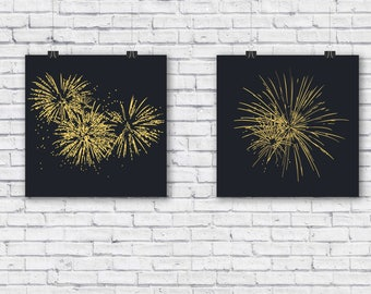 Abstract graphic firework art print, digital art, modern art, minimal art, home decor, black and gold