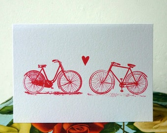 Bicycle Love screenprinted card