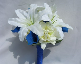 Kelly's Royal Blue Bridal Bouquet with White Casa Lilies, Royal Blue Calla Lilies, White Dendrobuim Orchids,Cream Open Roses, Royal Handle