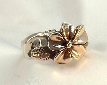 Cast Sterling Plumeria Ring