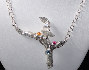 Pure Silver Tree Pendant with Gems