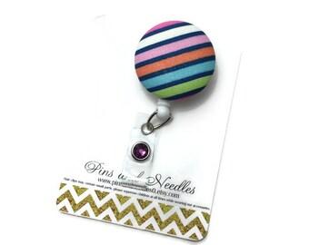 Fabric ID Badge Reel - Retractable Badge Reel - Cute Id Badge Reels-Fabric Badge Holder - Fabric ID Badge Reel - Stripe Fabric ID Badge Reel