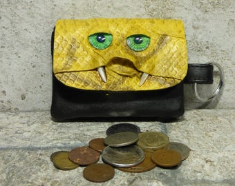 Zippered Coin Purse Change Purse Yellow Black Leather Monster Face Pouch Key Ring Harry Potter Labyrinth 21