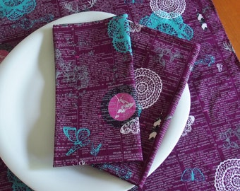 Cloth Napkins in Eggplant Aubergine with Deer, Butterfly, Lace, Premium Cotton Indelible Doiland Gloss Plum, Gift for Her, Set of 4