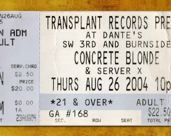 Concrete Blonde  Concert Ticket Stub, Portland, OR 2004