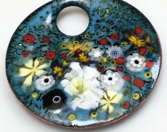 Romantic Flowers Art Pendant, Garden in Blues Whites & Yellows, Kiln Fired Copper Enamel on Handmade Pendant, Original Gift Ready to Ship