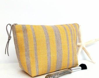 Makeup bag, Nautical makeup bag, yellow grey makeup bag, yellow cosmetic bag, Nautical striped cosmetic bag, bridesmaid gifts, women gifts