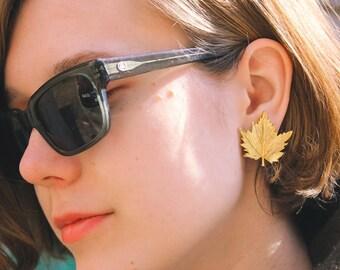 MAPLE Leaf Soviet Earrings / Gold Tone USSR Vintage Clip On Earrings, Brass Clips / КЛИПСЫ