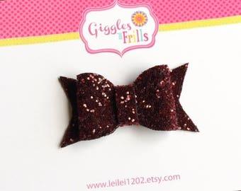 Cranberry Hair Bow, Glitter Hair Bows, Cranberry Hair Clip, Toddler Hair Clip, Glitter Hair Clips, Dark Cranberry Glitter Hair Bow