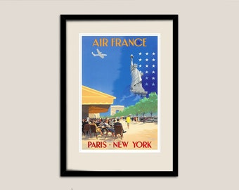 Air France Paris - New York Travel Poster - Poster Print, Sticker or Canvas Print / Gift Idea