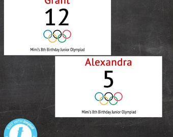 EDITABLE Olympic Bibs - Let the Games Begin - Custom Printable Ready for your party, Edit yourself - Templett