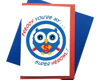 Personalised Super HerOwl Greeting Cards