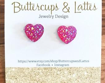 Pink Druzy Heart Stud Earrings