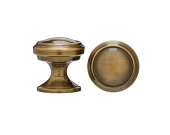 """1-1/4"""" Dia. Cabinet Knobs - Solid Brass Extruded Cabinet Knobs - GREEN ANTIQUE"""